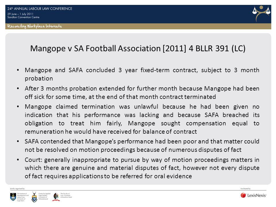 Mangope v SA Football Association [2011] 4 BLLR 391 (LC)
